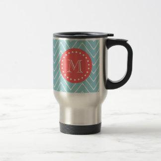Blue and Coral Chevron with Custom Monogram Travel Mug