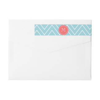 Blue and Coral Chevron with Custom Monogram Wrap Around Label