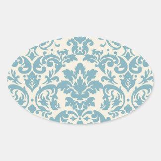 blue and cream damask flourish pattern oval sticker