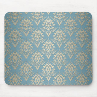 Blue and Cream Elegant Damask Pattern Mouse Mat