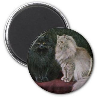 Blue and Cream Persian Cat Artwork Fridge Magnets