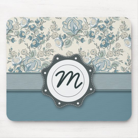 Blue and Cream Roses with Monogram Mouse Mat