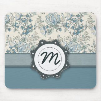 Blue and Cream Roses with Monogram Mouse Pad