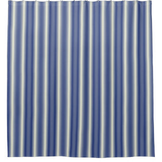 Blue and Cream Stripes Shower Curtain