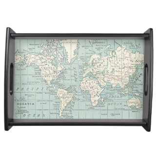 Blue and Cream World Map Tray Serving Platter