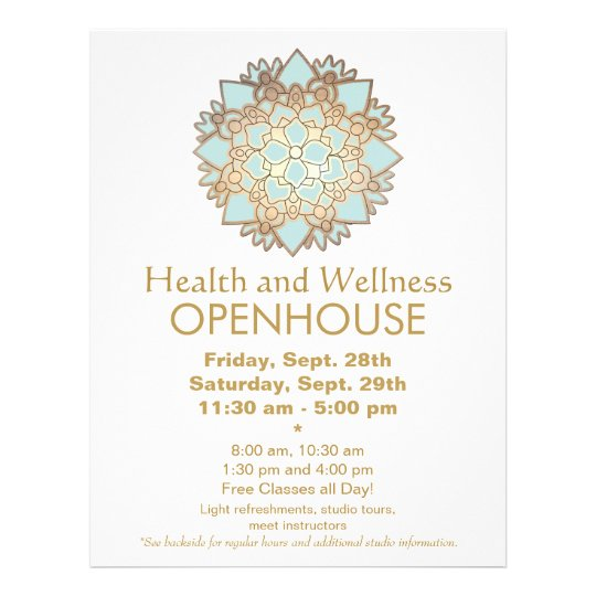Blue and Faux Gold Leaf Health and Wellness