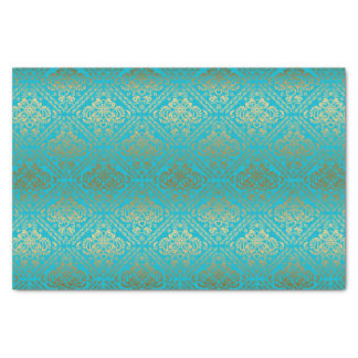 Blue And Faux Metallic Gold Floral Damasks Tissue Paper