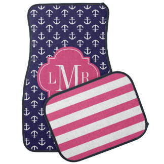 Blue and Fuchsia Anchors Pattern and Monogram Floor Mat