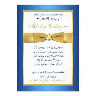 Blue and Gold 65th Birthday Invitation
