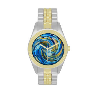 Blue And gold Abstract Dolphin Watches