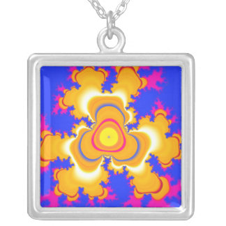 Blue and Gold Abstract Fractal Design Square Pendant Necklace