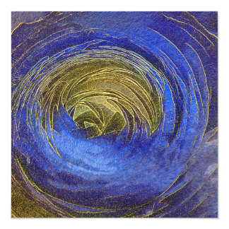 Blue and Gold Abstract Rose Mosaic Happy New Year Card