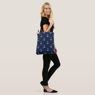 Blue and Gold Anchor Design Tote Bag
