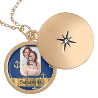 Blue and gold anchor patterned gold plated necklace