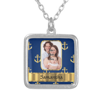 Blue and gold anchor patterned silver plated necklace