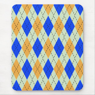 BLUE AND GOLD ARGYLE PATTERN MOUSE PAD