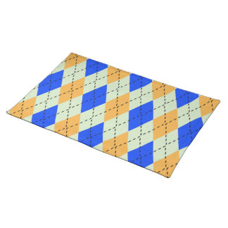 BLUE AND GOLD ARGYLE PATTERN PLACE MAT