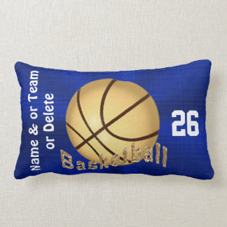 Blue and Gold Basketball Team Gifts PERSONALIZED Lumbar Cushion