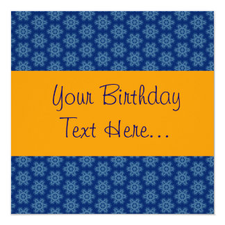 Blue and Gold Birthday Party Invite W1149