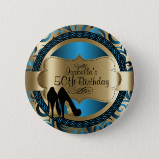 Blue and Gold Birthday with Black High Heels 6 Cm Round Badge