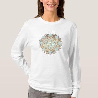 Blue and Gold Blooming Lotus Flower T-Shirt