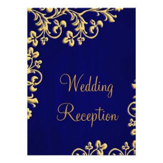 Blue and gold brocade wedding reception invite