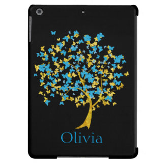 Blue and Gold Butterfly Tree iPad Air Cover
