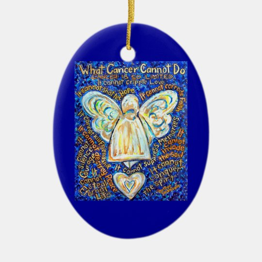 Blue and Gold Cancer Angel Ornament Customised