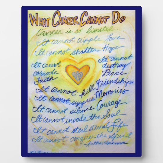 Blue and Gold Cancer Poem Painting Art Plaque