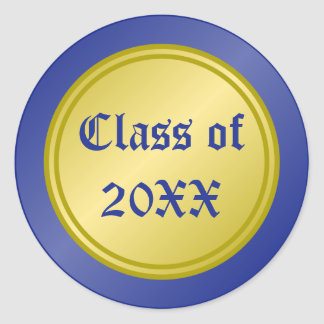 Blue and Gold Class of Graduation Classic Round Sticker