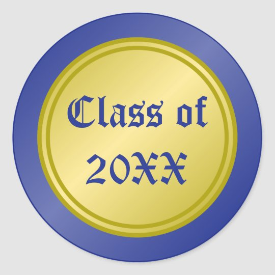 Blue and Gold Class of Graduation Classic Round