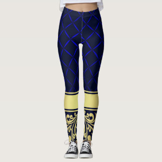 Blue and Gold Color Fashion Leggings