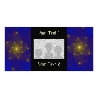Blue and Gold Color Fractal Design Picture Card