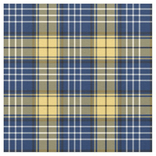 Blue and Gold Custom Coyle Family Tartan Fabric