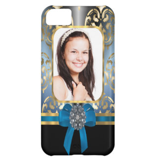 Blue and gold damask iPhone 5C case