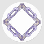 Blue and Gold Diamond Fractal Frame Round Stickers