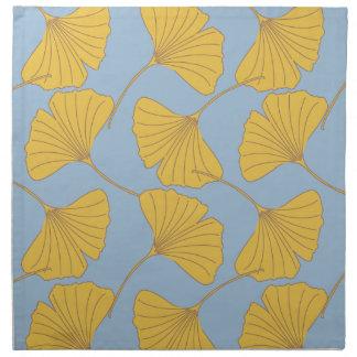 Blue and Gold Fall Ginkgo Ginko Biloba Leaves Napkin