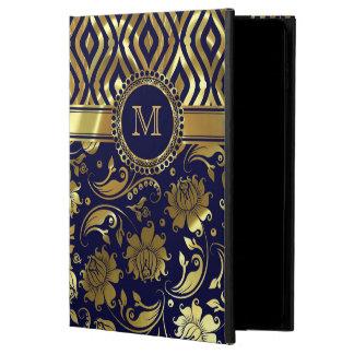 Blue And Gold Floral & Geometric Damasks Monogram