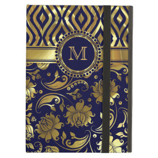 Blue And Gold Floral & Geometric Damasks Monogram iPad Air Cover