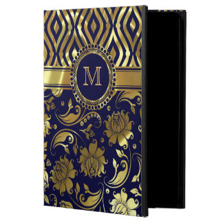Blue And Gold Floral & Geometric Damasks Monogram Powis iPad Air 2 Case