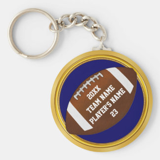 Blue and Gold Football Gifts YOUR TEXT Change Blue Basic Round Button Key Ring
