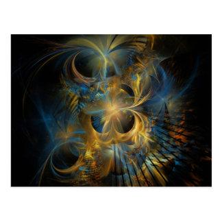 Blue and Gold Fractal Postcard