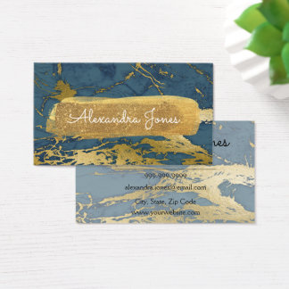Blue and Gold Glitter and Sparkle Marble Business Card