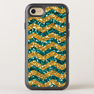 Blue and Gold Glitter, Chevron Pattern Mobile OtterBox Symmetry iPhone 8/7 Case