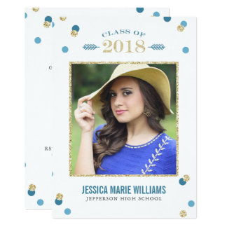 Blue and Gold Glitter Dots Graduation Invitation