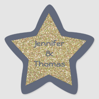 Blue and Gold Glitter Look Star Wedding Sticker