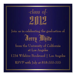 Blue and Gold Graduation Card