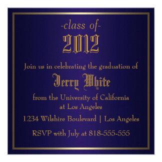 Blue and Gold Graduation Custom Invitation