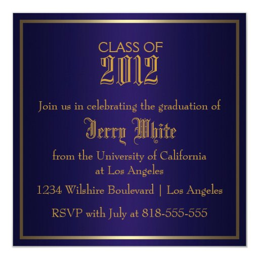"Blue and Gold Graduation 5.25"" Square Invitation Card"
