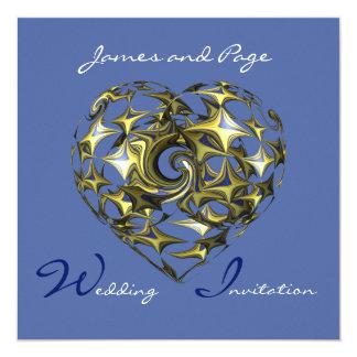 Blue and Gold Heart Wedding Fine Art 13 Cm X 13 Cm Square Invitation Card